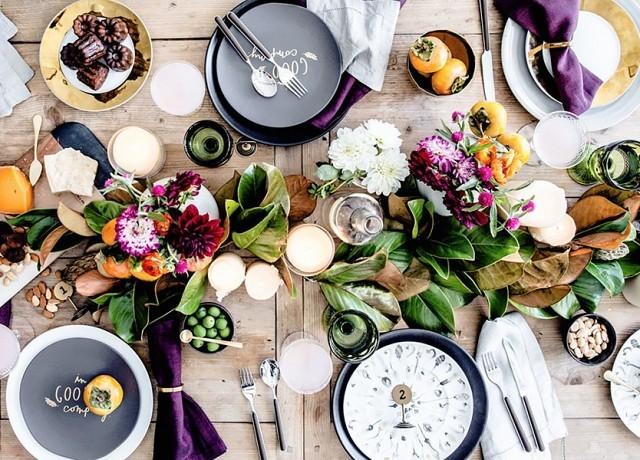 colorful autumn table setting