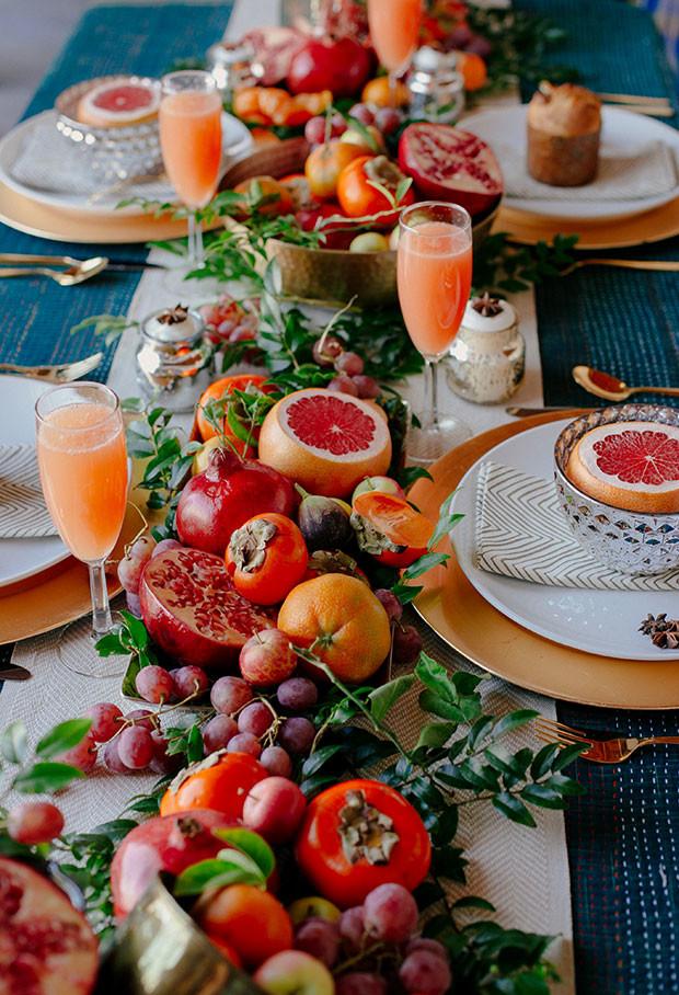 Autumn fruit table centerpiece