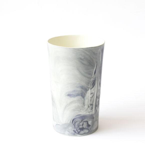 Blue marble ceramic vase