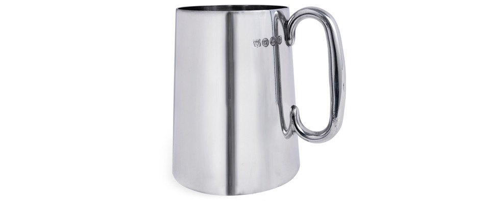 English tin beer mug