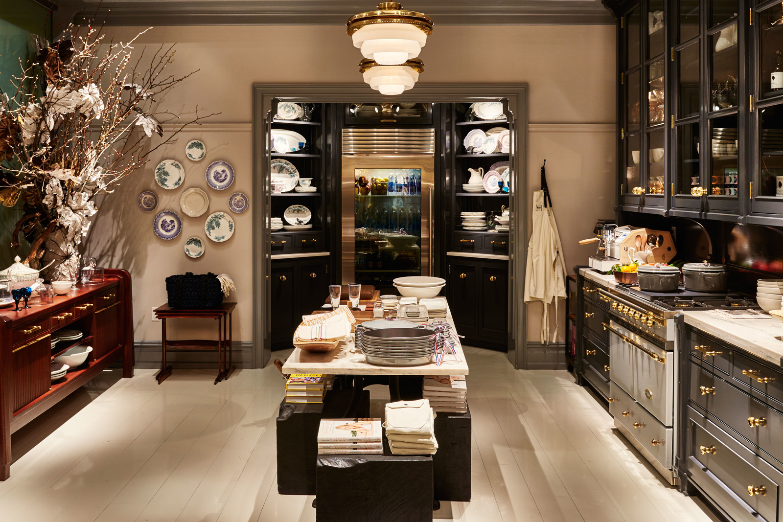 gray and gold kitchen design
