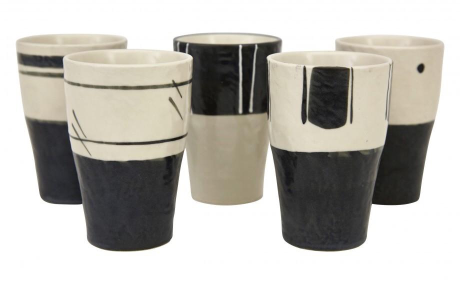 Black and white stoneware mug