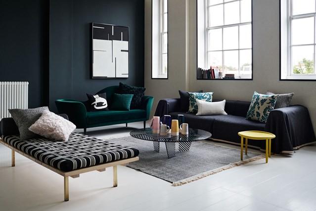 black accent wall living room design