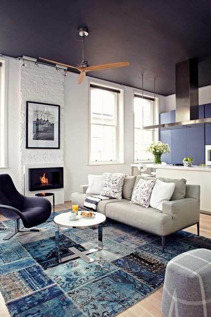 blue patchwork carpet living room