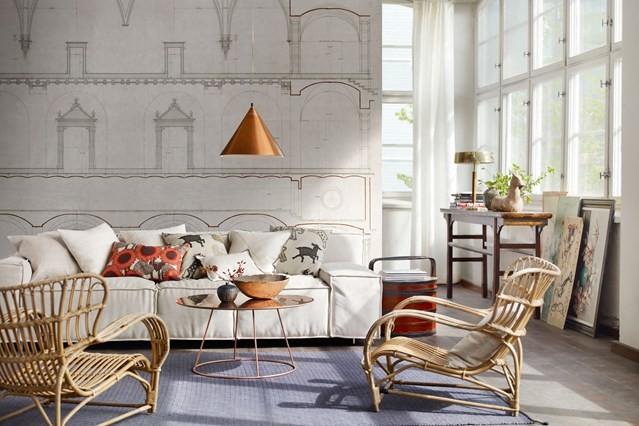 Rattan armchair living room wall decal