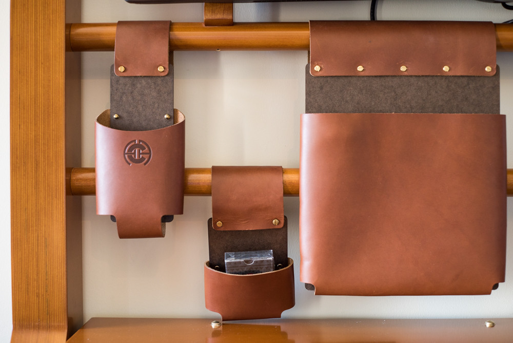 brown leather catchalls