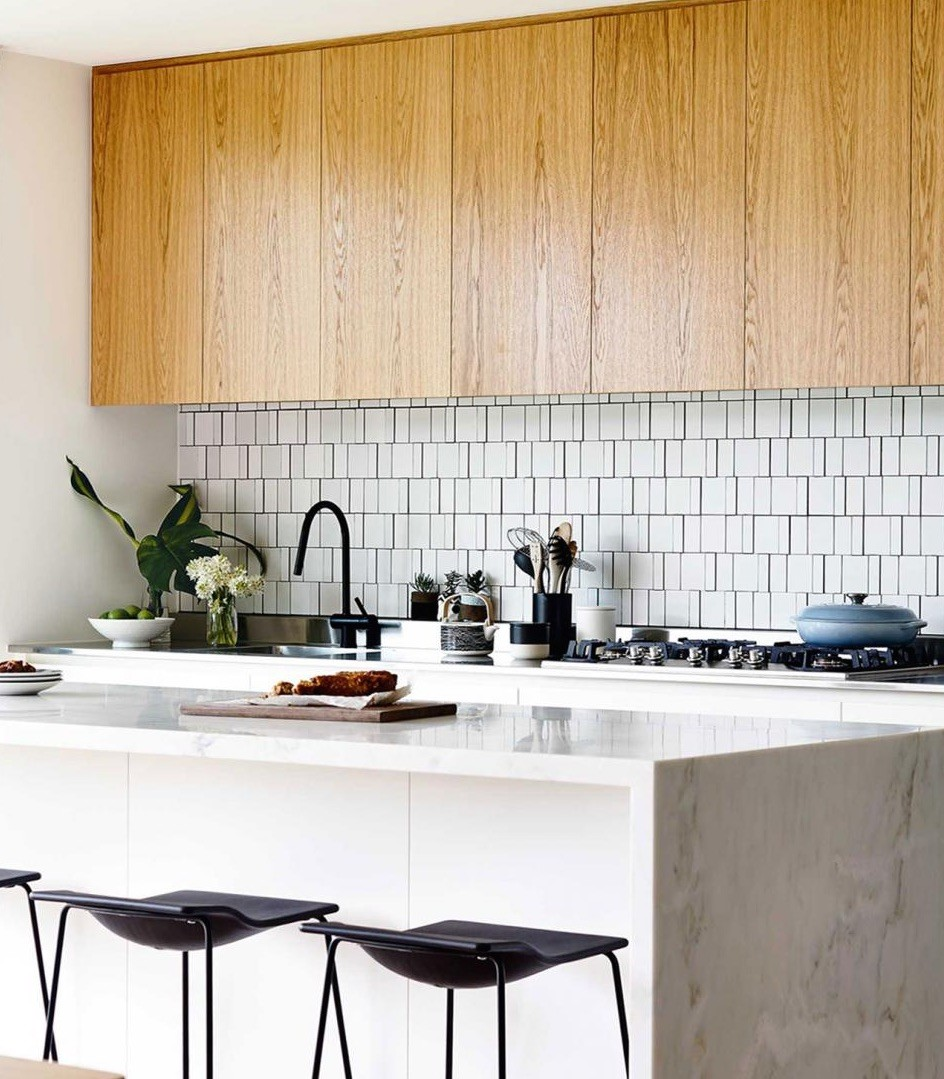 Wooden cabinets mid-century kitchen