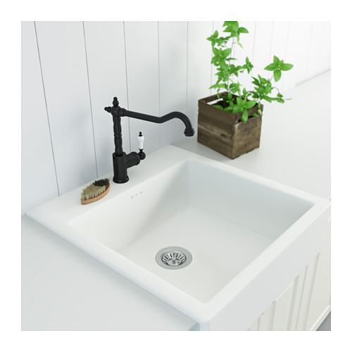 black faucet white sink