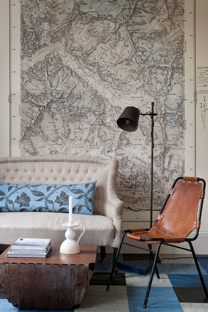 Map wall decal living room