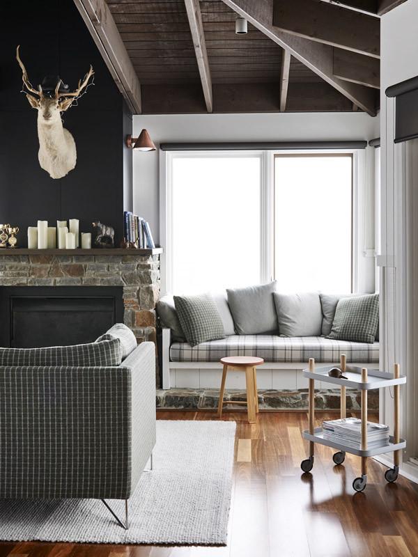 gray plaid sofa living room decor