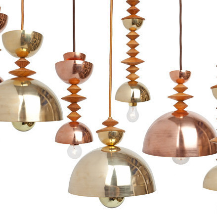Copper and gold pendant lamp