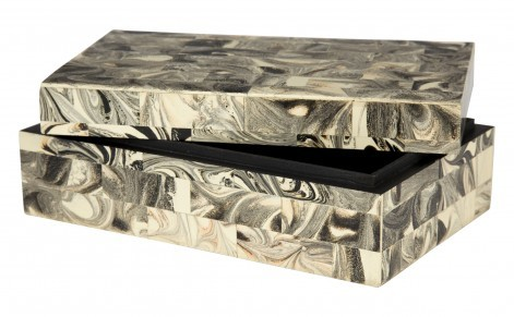 black and white marble box