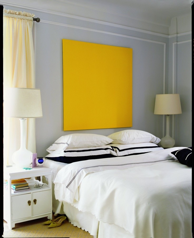 large yellow painting bedroom