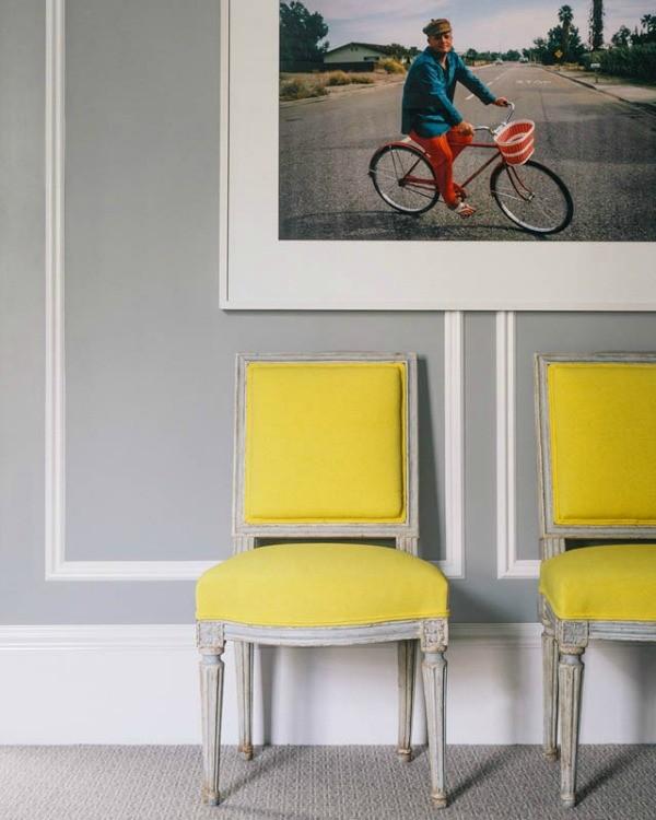 yellow Louis XVI gray wall