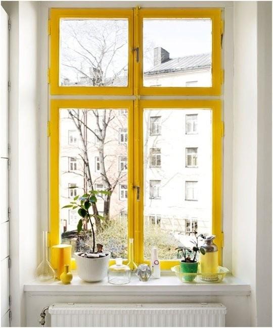 yellow painted windowsill