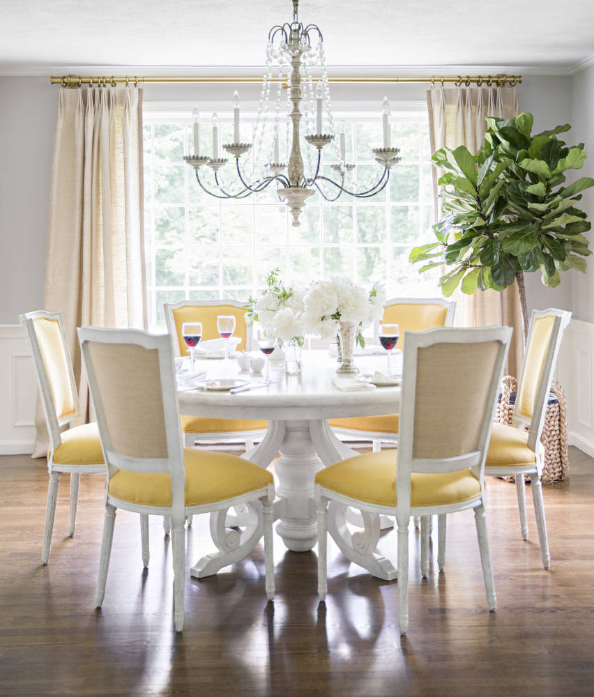 yellow upholstered dining room chairs