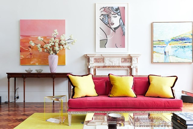 yellow cushions from pink velvet sofa