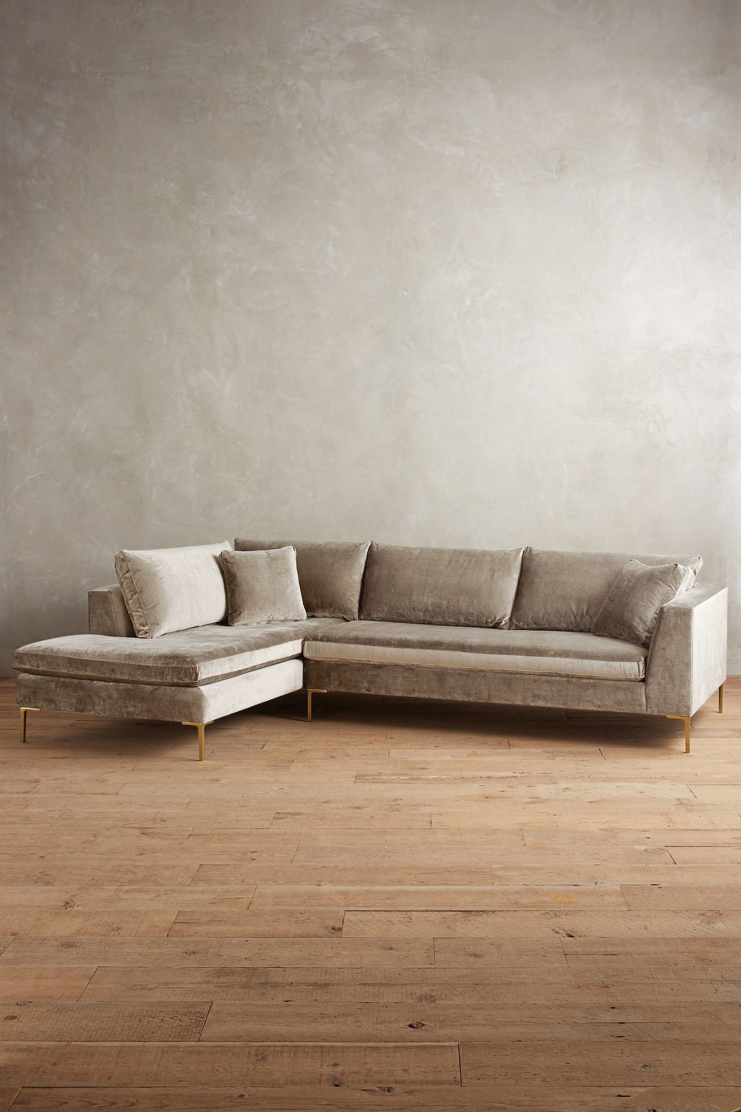 modern neutral velvet sofa