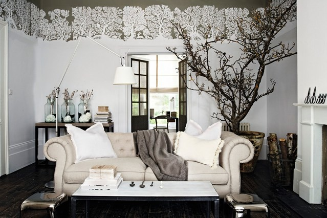 Wall stencil living room decor
