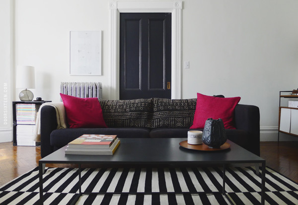 black and white striped carpet