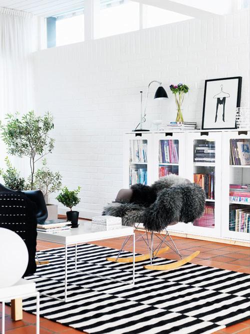 striped carpet Scandinavian living room