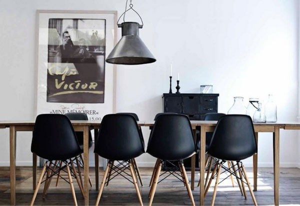 black eames chair dining room
