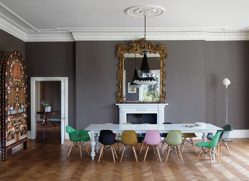 colorful eames chairs dining room interior