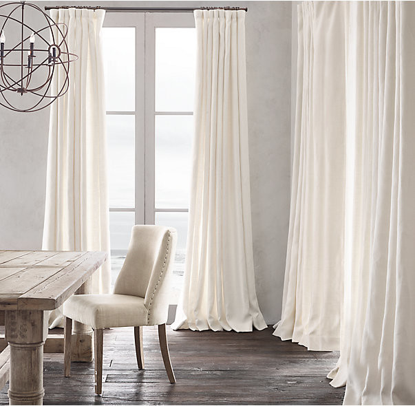 neutral room with white curtain