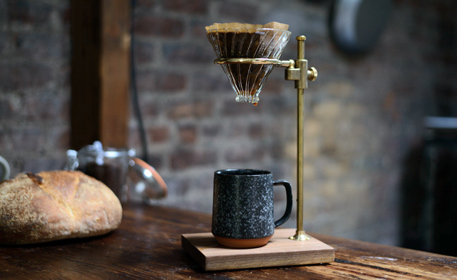 Pour brass over coffee maker