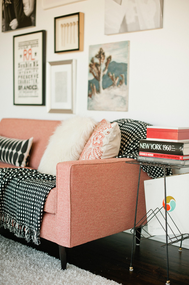 pink sofa styling