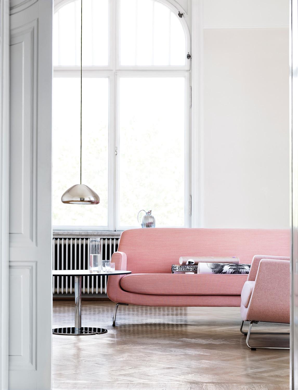 Scandinavian modern pink sofa
