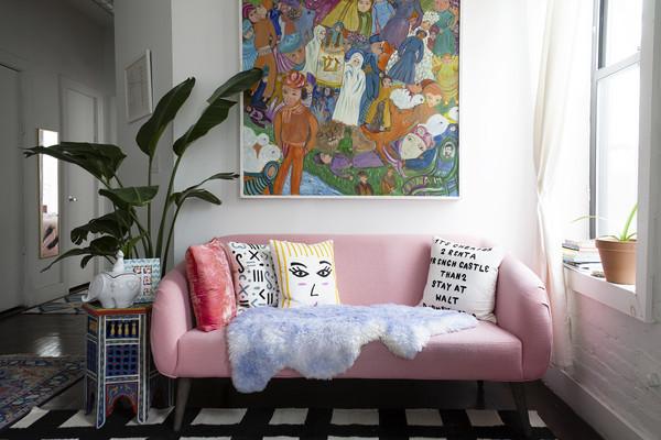 pink loveseat throw pillow
