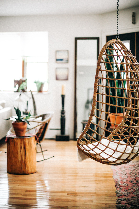 Hanging chair living room decor