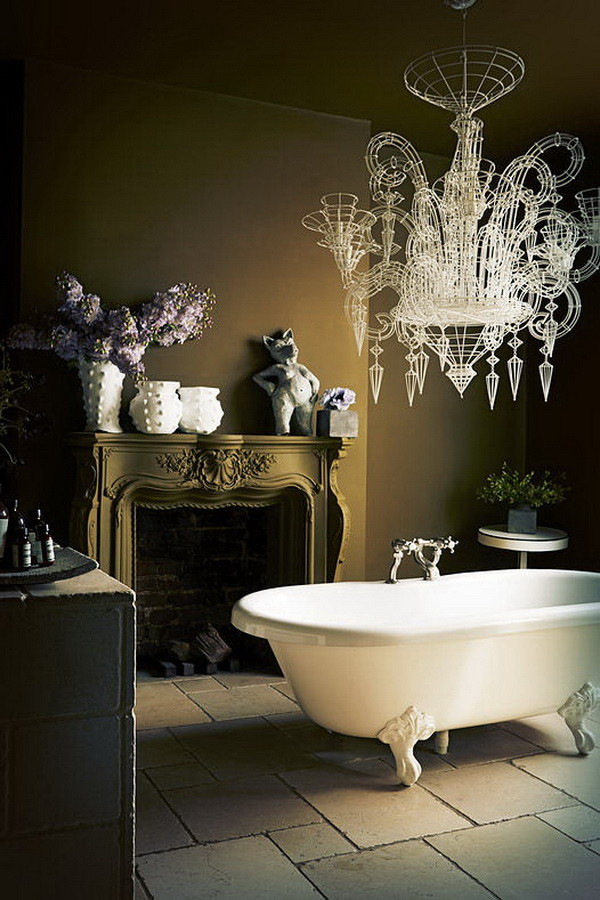 Murano chandelier bathroom decor