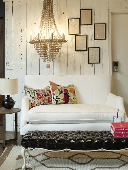 Beaded chandelier living room