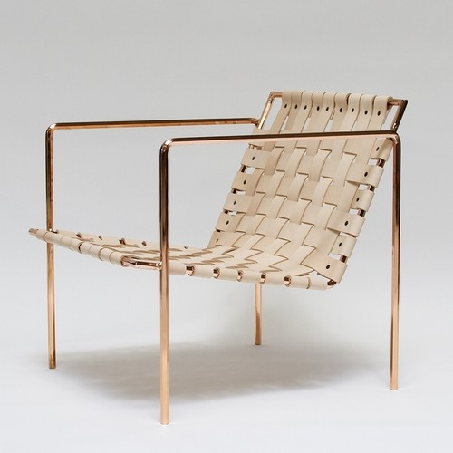 Armchair made of copper and leather