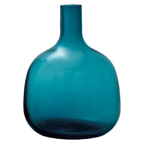 blue glass bottle vase