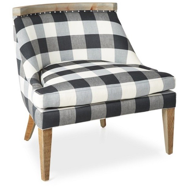 padded side chair with gingham print