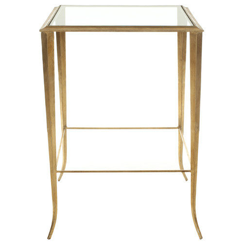 Gold brass glass side table
