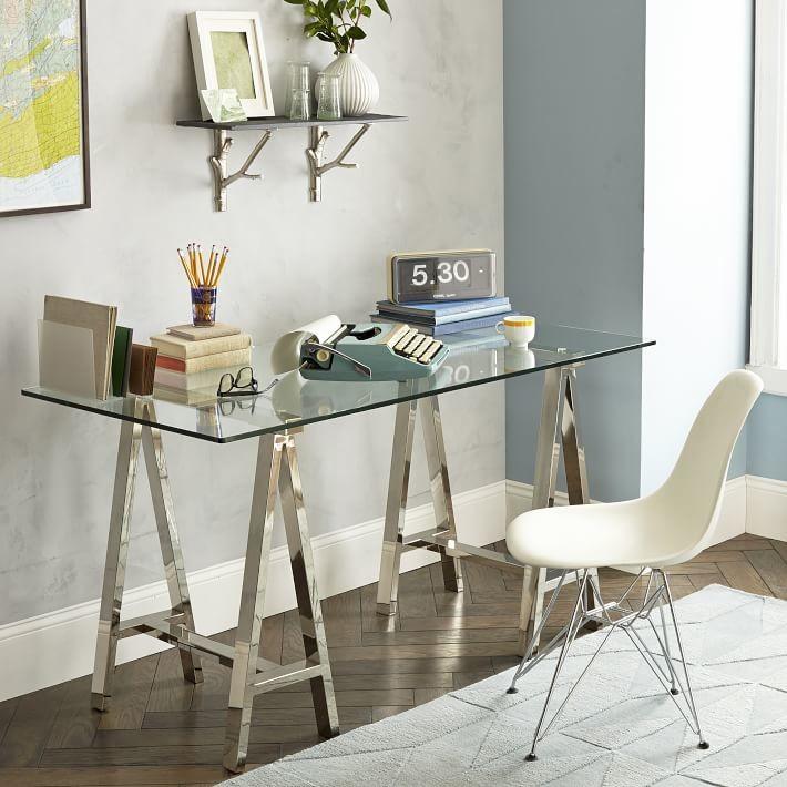 modern glass-chrome desk