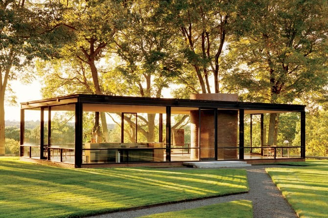 modern architectural house made of glass and steel