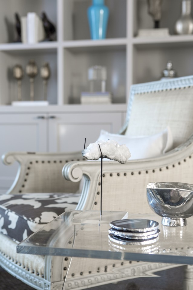 Glass tabletop side table armchair