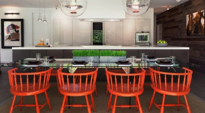 fresh contemporary kitchen remodel red chairs