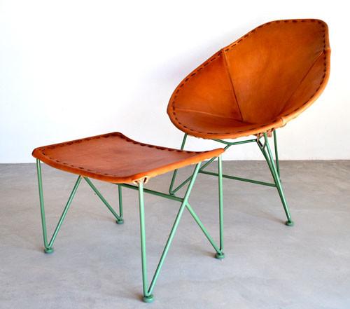 Leather armchair green metal legs