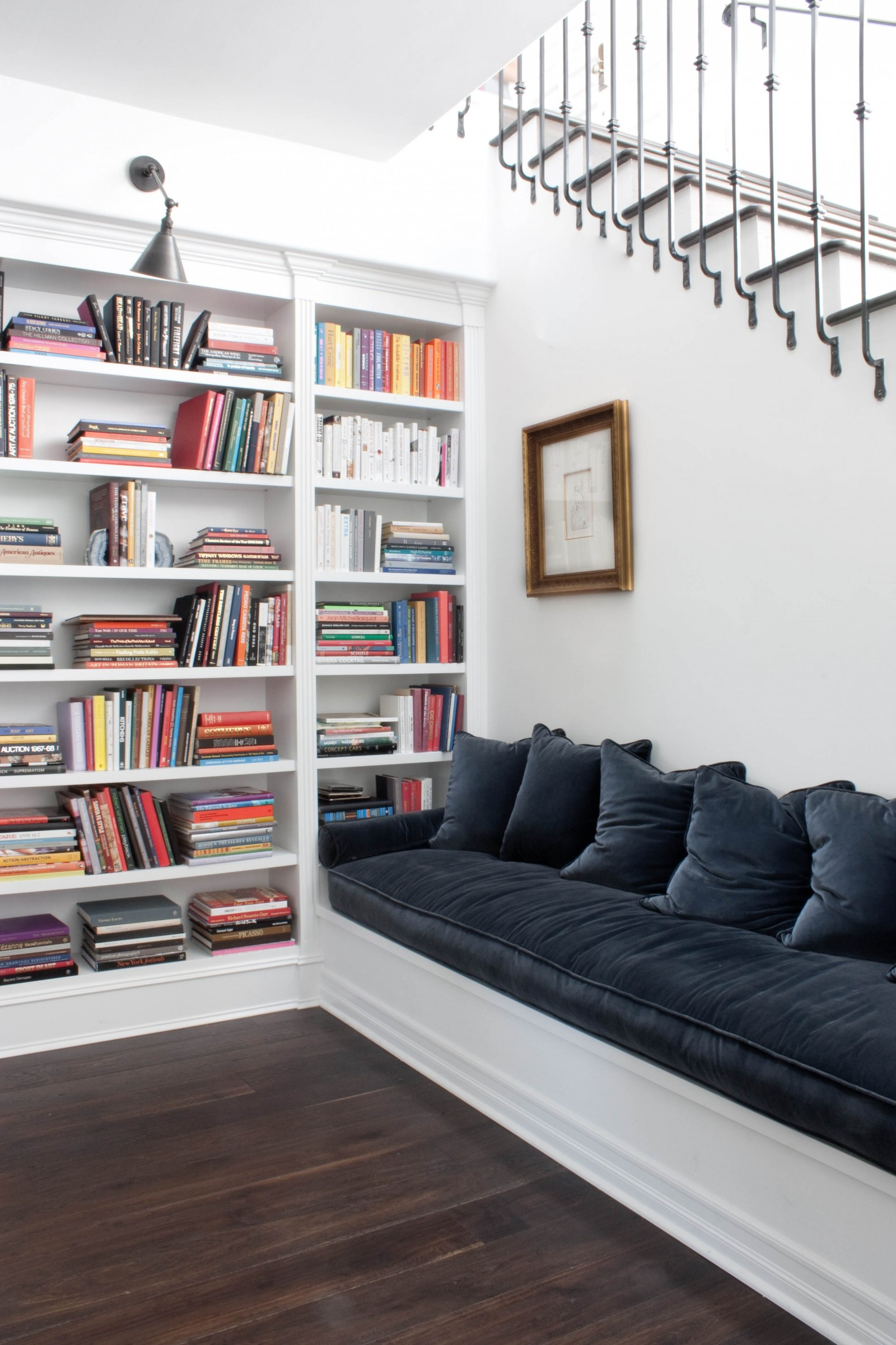 Built-in bookshelves and bench