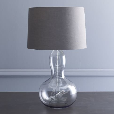 Smoked glass pumpkin lamp