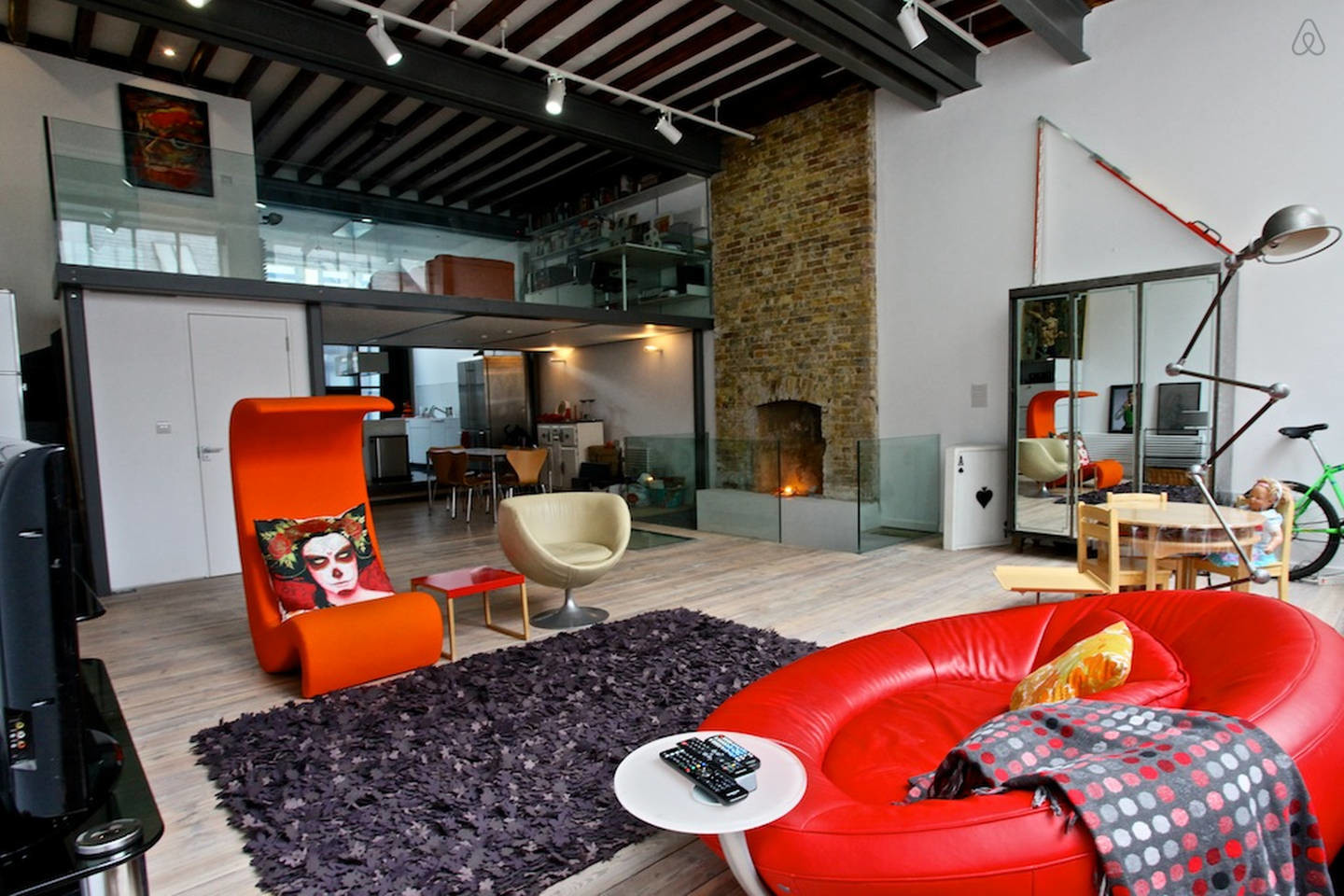 red chairs modern loft apartment