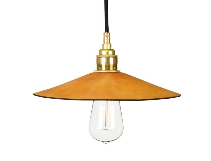 Leather shade pendant lamp
