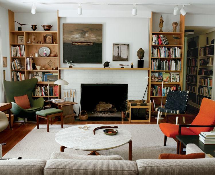Mid century modern neutral living room decor