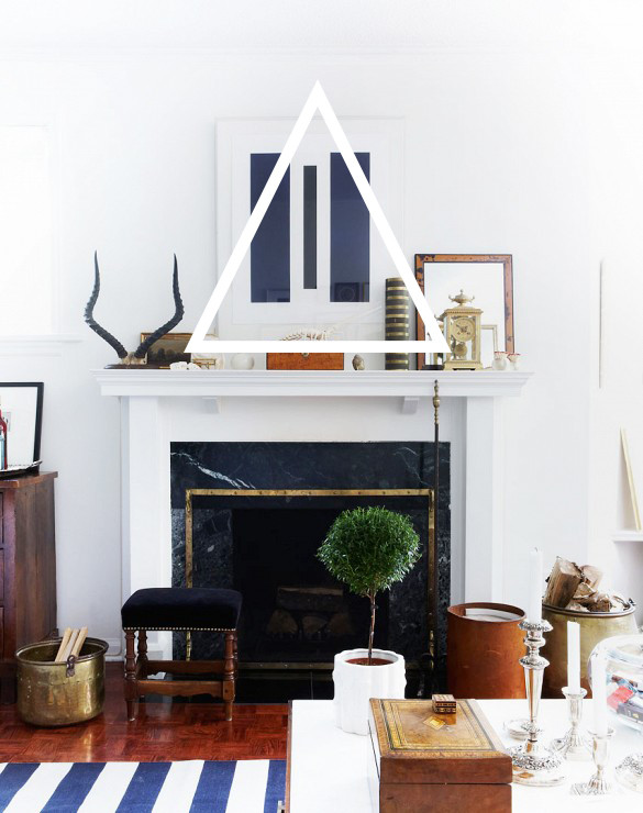 Modern eclectic mantelpiece with blue accents